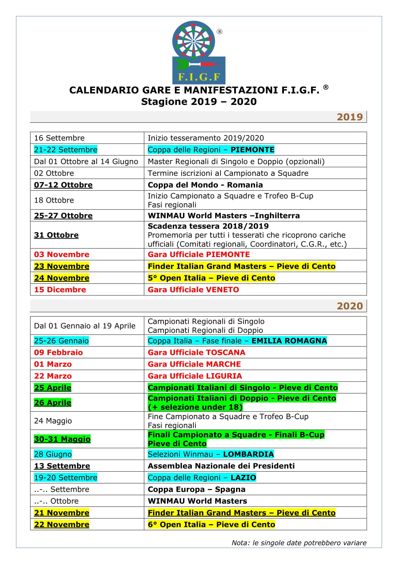 Calendario Da Settembre 2019 A Giugno 2020.Federazione Italiana Gioco Freccette Figf Italia It