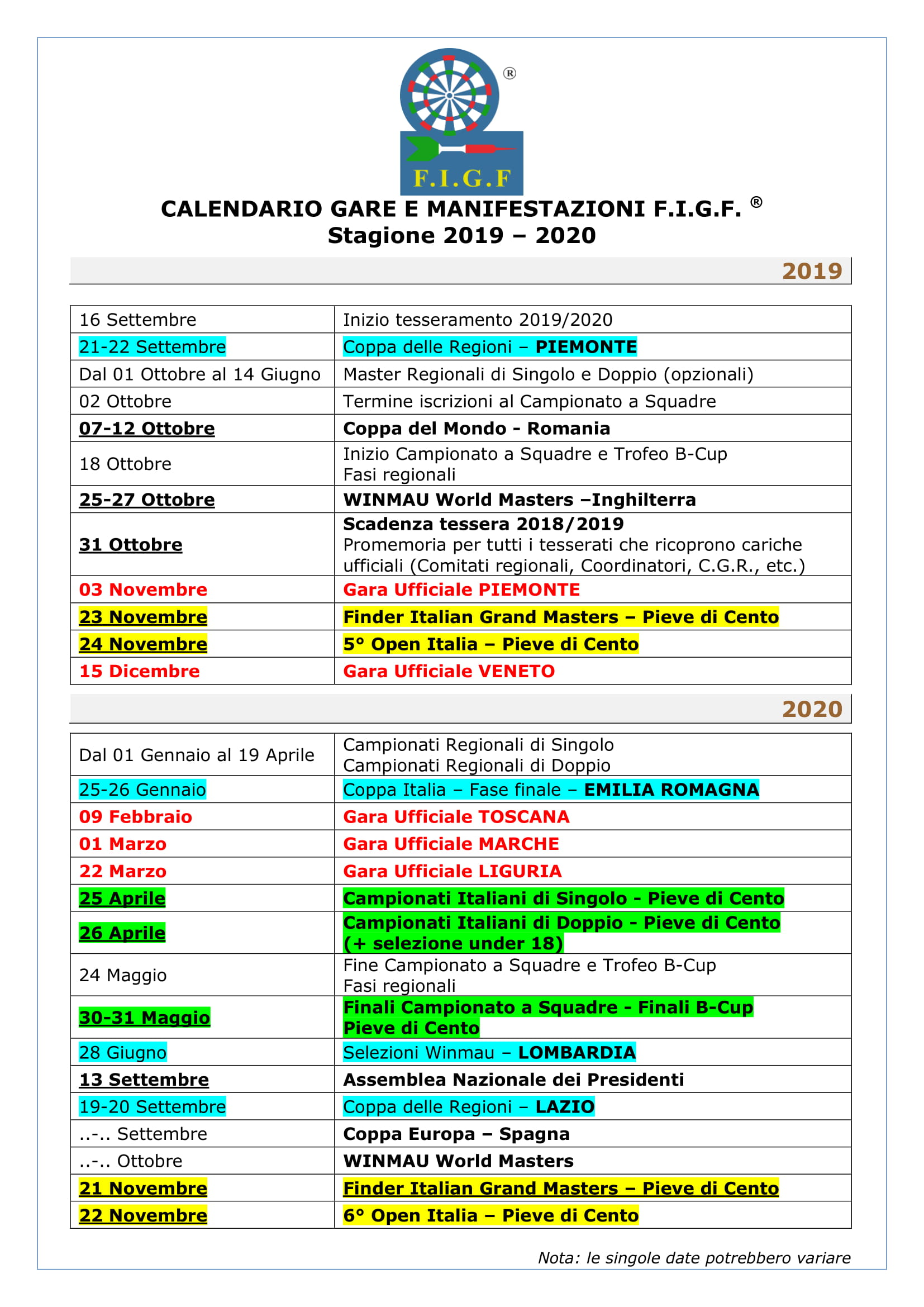 Novembre 2020 Calendario.Calendario 2019 2020 Figf Italia It
